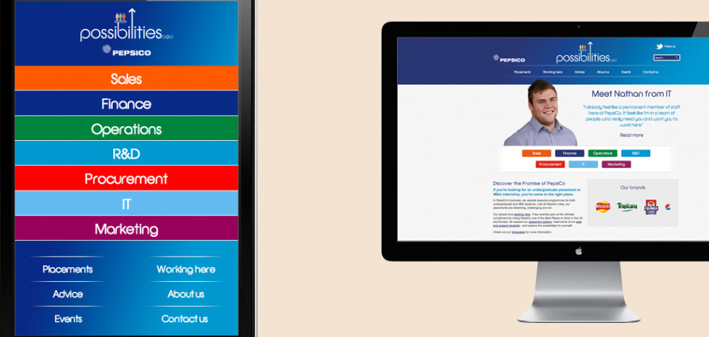 Responsive design and social content for PepsiCo student recruitment
